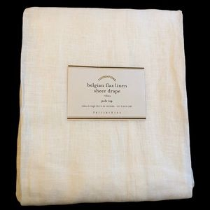 Pottery Barn Flax Linen Sheer Curtain 50x94 White